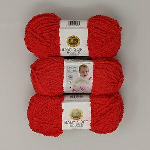 Lion-Brand-Baby-Soft-Boucle-Scarlet-3-Skeins-100g-120yds