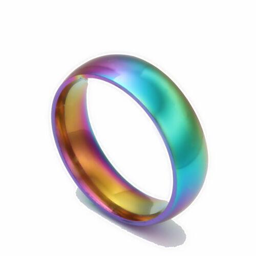 Rainbow Colorful Titanium  Finger Ring Men//Womens Engagement Wedding Band L/_D