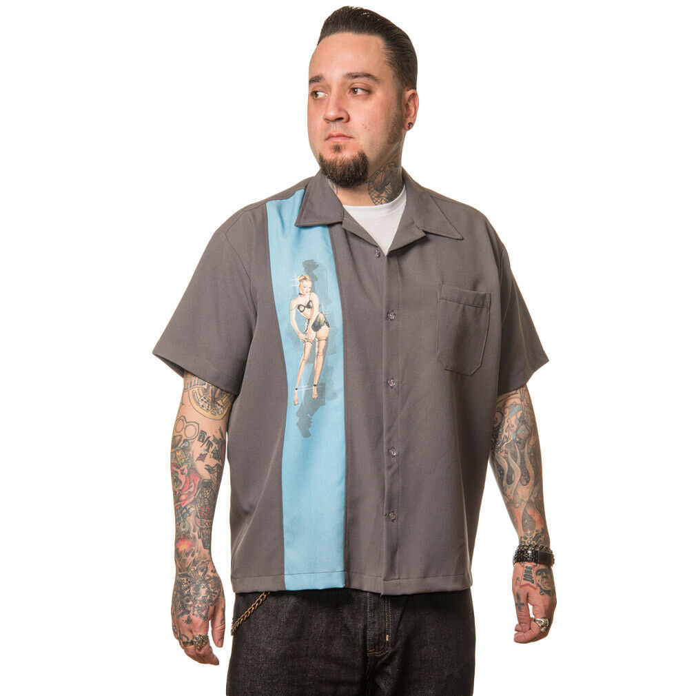 Steady Clothing Vintage Bowling Shirt - Single Pin-Up blue