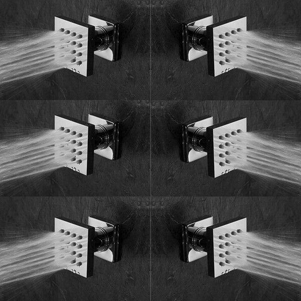"DULABRAHE 6 pcs Brushed Nickel Body Jets 2 Inch Shower Adjustable Spa Brass Square Massage Shower Silde Sprayer Jets NPT 1//2/"""