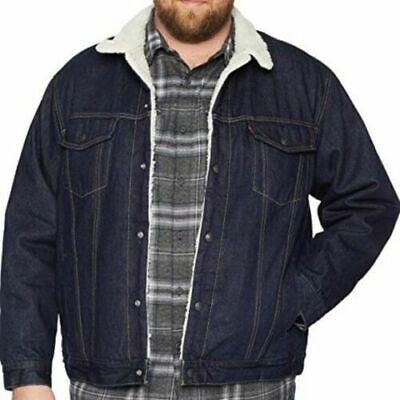Levi/'s Sherpa Big and Tall Trucker Jacket Dark Blue Rinse 0005