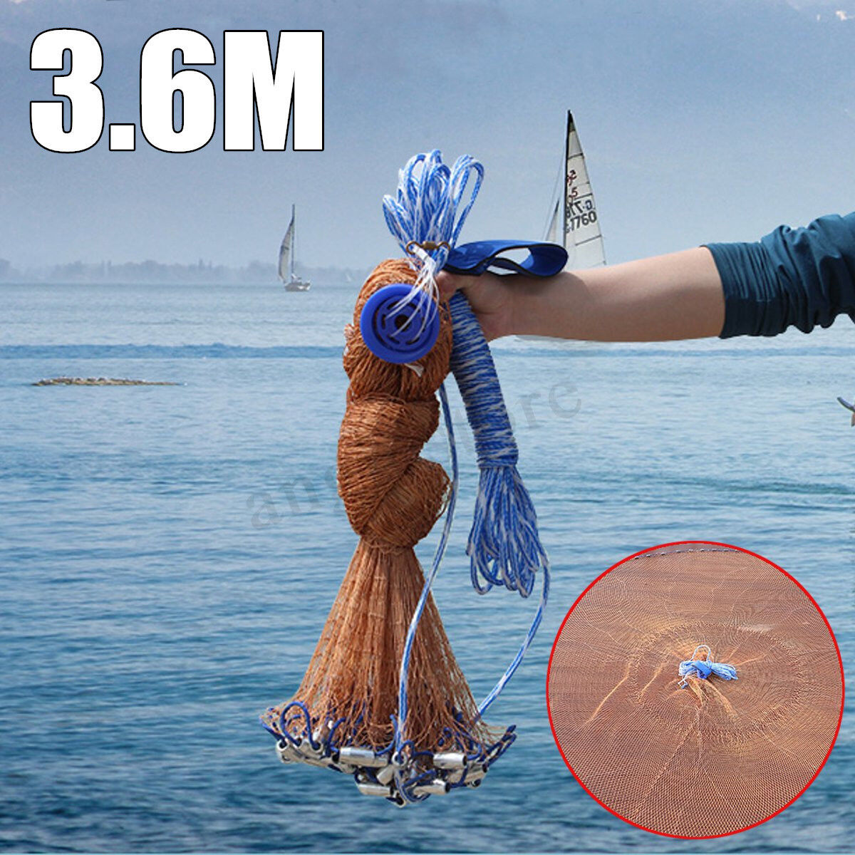 6FT Fish Net Bait Easy Throw  Strong Nylon Line With Sinker For Hand Casting  low prices