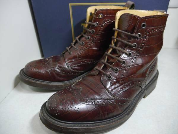 Bottines Trickers Country Croco En Relief Taille UK 8 JP 27 chaussures hommes vintage
