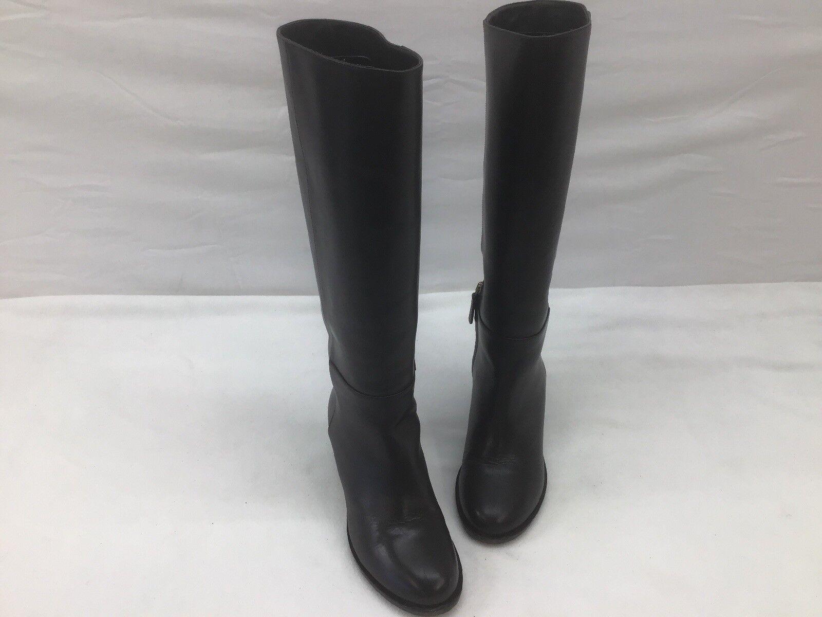 Max Mara Ozono braun Leather Knee High Stiefel Größe 38M F1136