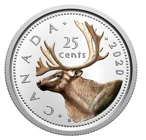 Now-colored-Canada-25-cents-quarter-coin-Silver-Proof-Caribou-UNC-2020