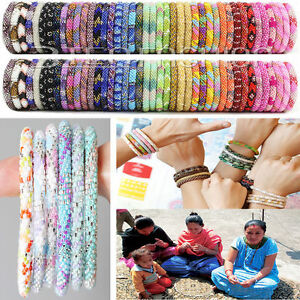 Image Is Loading Nepal Bracelet Gl Seed Bead Roll On Crochet