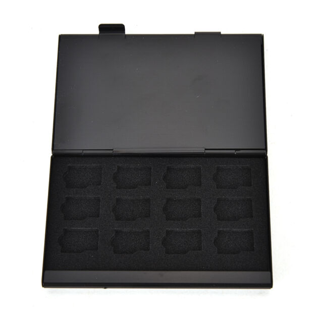 Black Aluminum Memory Card Storage Case Box Holder For 24 TF Micro Cards FT
