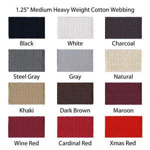 1-Yard-1-25-034-Medium-Heavy-Weight-Cotton-Webbing-44-Colors-to-Choose