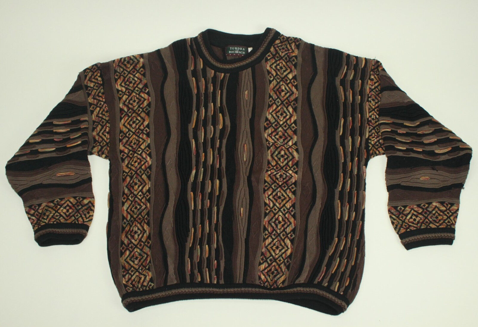TUNDRA Canada Crazy Lines Sweater Large L Cosby Bachrach Braun Wild Cotton VTG