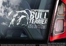 Staffordshire Bull Terrier - Car Window Sticker - Staffie Staffy Dog Sign - V04