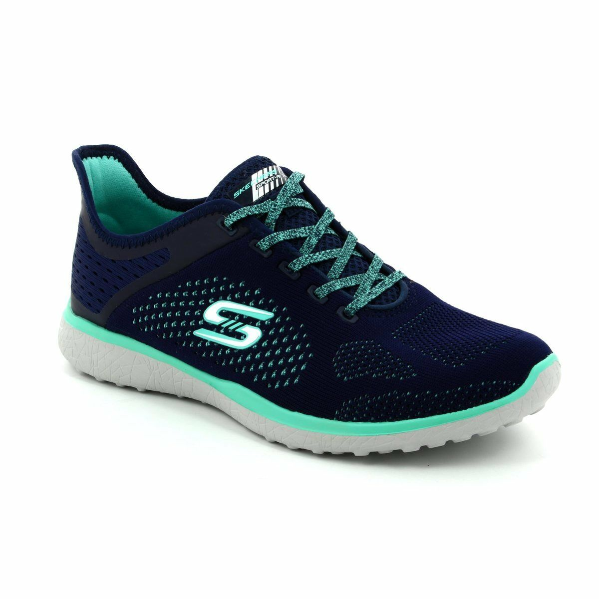 Skechers Navy 23327 Lace Up Trainers UK 4 EU 37 JS180 XX 07
