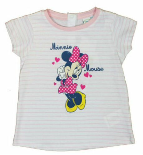 Disney Minnie Mouse Baby Girls Short Sleeved T-Shirt Striped 6-23 Months New