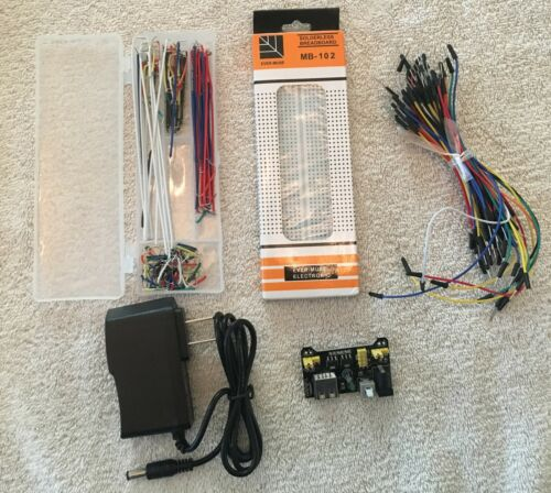MB102 Breadboard Cable Wires Power Supply AC Adapter Arduino Starter Kit USA