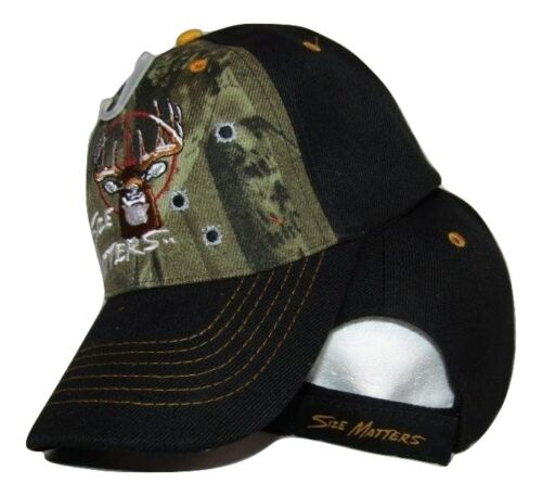 Hunter Hunting Size Matters Buck Black /& Camouflage Embroidered Cap Hat