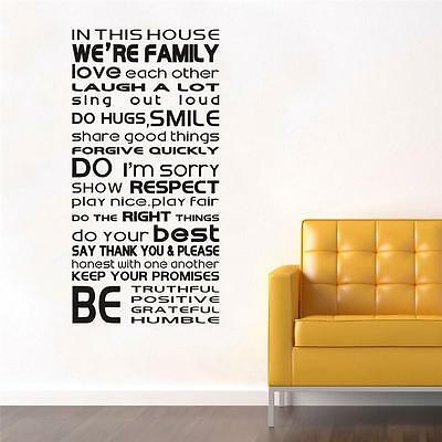 BATHROOM RULES Quote Decal WALL STICKER Home Decor Art Toilet Words Letters SQ65