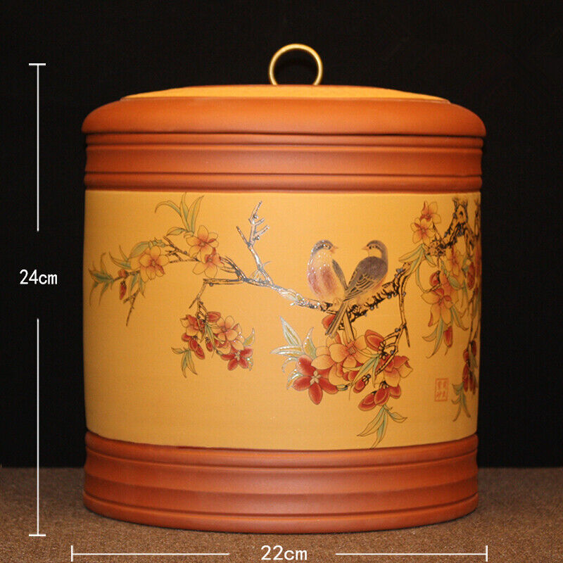 Authentic yixing zisha tea caddies for Pu'er tea cake handpainted sealed tea Jar