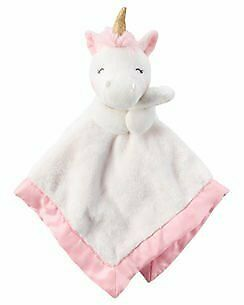 NWT Carters Pink And White Unicorn Gold Horn Plush Baby Toy Security Blanket