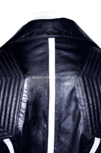 Ladies Short Fashion Jacket Black White Padded Biker Soft Gothic Leather 6027