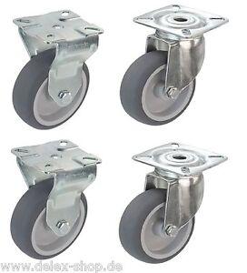 3 Satz Transportrollen 75 mm Möbelrollen TK 300 kg Platte Lenkrollen Bremse