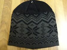 Mens Thermal Winter Warm Black & Grey Ski Hat Cap Beanie New
