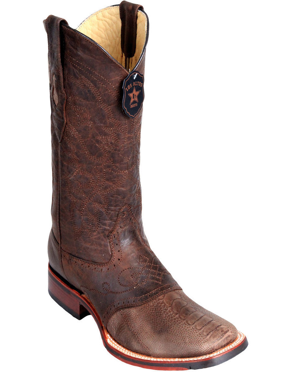 Los Altos BROWN Ostrich LEG Square Toe TPU Rubber Sole Western Cowboy Boot D