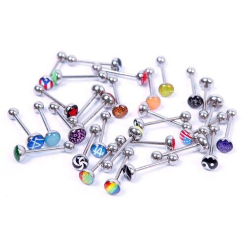 Lots of 30 Metal Piercing Tongue Rings Steel Bar Barbells Funny Wording Logo TB
