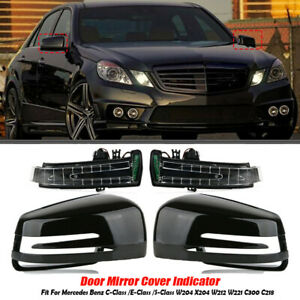 Pair-Door-Mirror-Cover-Cap-w-LED-Turn-Signals-For-Mercedes-Benz-W212-W204-W221