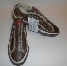 Converse All Star Brown Leather Sherpa Wool Slip On Shoes Women's Size 7 Men's 5
