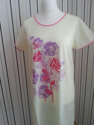 Damen Nachthemd//Bigshirt  gelb mit Rosenmotiv 1//2 Arm  100/% Baumwolle