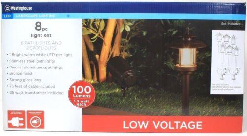 1 Westinghouse 8 Pc Landscape Light Set 6 Pathlights 2 Spotlights LED 75 Feet