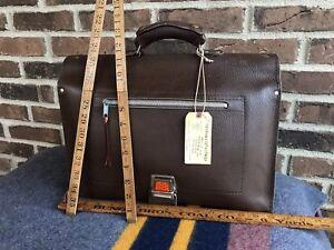 VINTAGE 1950's RUSSIAN BROWN LEATHER SADDLE BAG BRIEFCASE BAG MOOSE HANDLE R$898