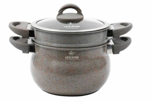 Non Stick Dumpling Couscous Steamer Induction Stone Coated Pot With Steamer
