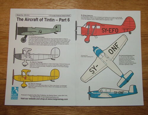 1//72 scale AIRCRAFT OF TINTIN DECALS PART 6 BY BLUE RIDER NEW! Sheet CD014