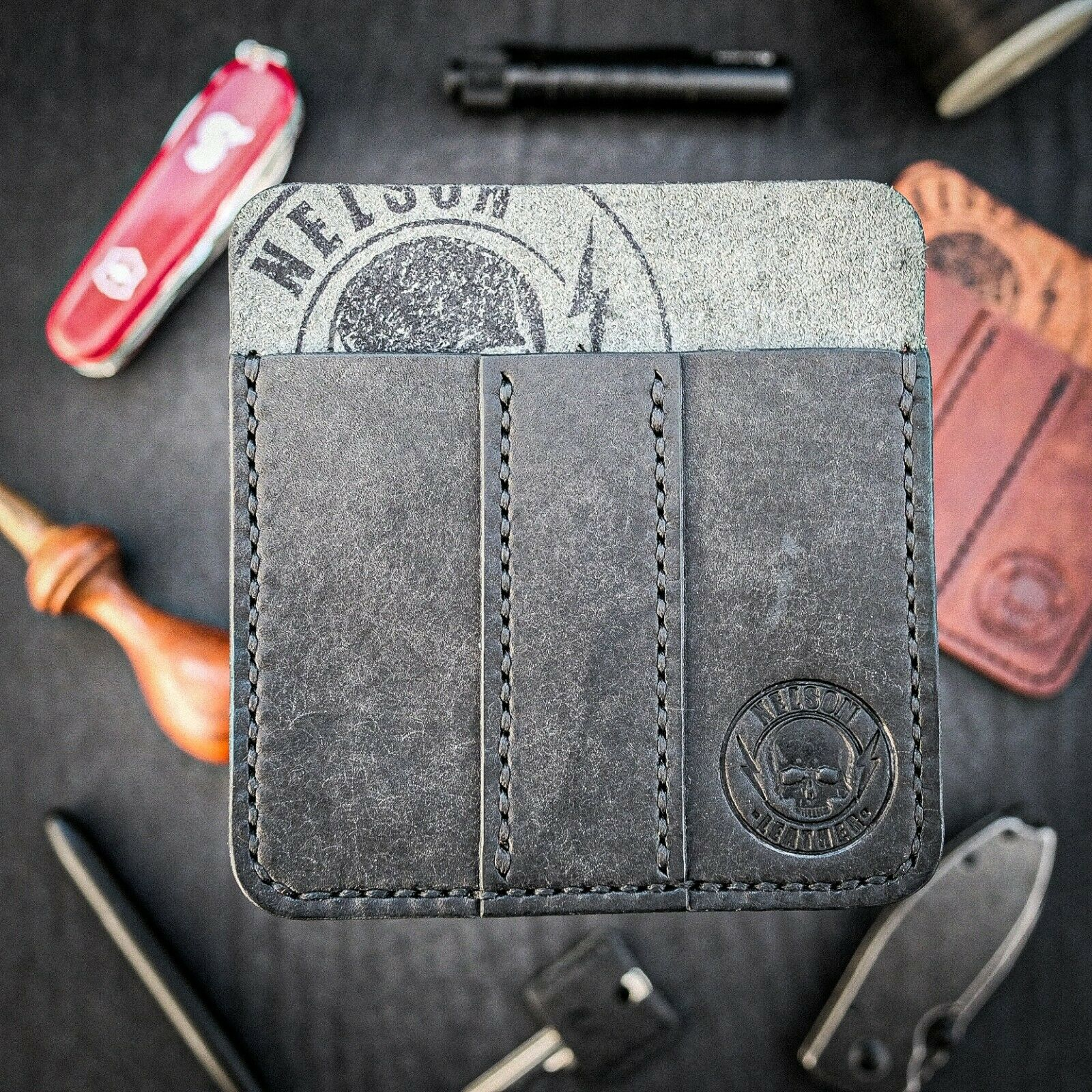 Leather Pocket Organiser, EDC Leather Organizer, Leather Multi-Tool Pouch