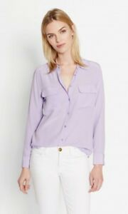100-Silk-Equipment-Slim-Signature-Shirt-Casual-Blouse-Light-Purple-Lavender-New
