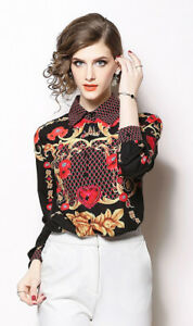 Women-Shirt-Summer-Elegant-Print-Flowers-Casual-Cocktail-Office-Valentine-s-Hot