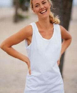 Hanes-Ladies-Womens-Plain-WHITE-Cotton-Tank-Top-Running-Vest-Sleeveless-Tshirt