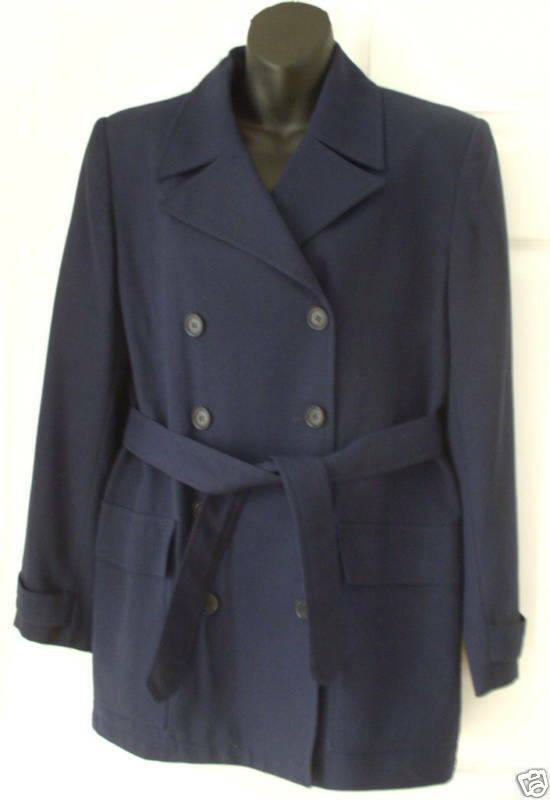 Evan Picone Wms Navy Wool Double Breasted Coat 8
