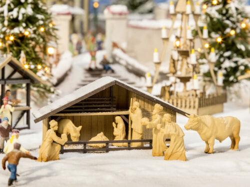 Noch 14394 H0 Laser-Cut minis Weihnachtsmarkt Krippe