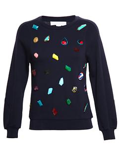 NWT Stella McCartney Navy Top Sweatshirt with Gemstone Aplique, size 40 IT, 4 US