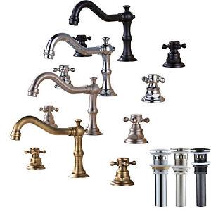 Widespread-Bathroom-Basin-Faucet-Dual-Handles-Sink-Mixer-Tap-Three-Holes-Set