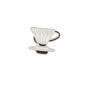 New Black White Barista Coffee Geek V60 Dripper Pour Over Cone Pin Brooch Badge