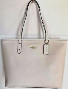 45e27187a113 Image is loading New-Coach-58846-City-Zip-Tote-Crossgrain-Leather-