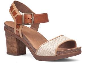 DANSKO-Debby-Platform-Heel-SANDALS-US-10-5-11-EU-41-Leather-Taupe-Raffia-NEW