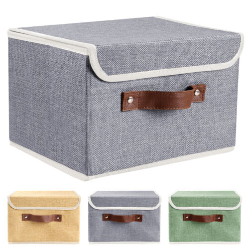 2Pcs Collapsible Storage Bins Box Cube w// Lid+Handle Organizer Container Fabric
