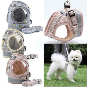Reflective-Pet-Dog-Mesh-harness-Vest-Collar-soft-chest-strap-XS-XL-and-Leash-set