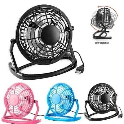 Retro Mini Desk Fan 4 Inch 360 Rotation Silent Portable Cooler Power By USB Home