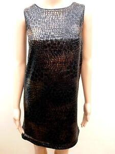 New Next Bronze Sequin Animal Snake Pattern Shift Dress Sz Uk 12 Petite 16 Reg Ebay