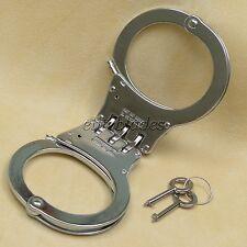 Heavy Duty Steel Hinged Double Lock Police Handcuffs Hand Cuffs 2 Keys NEW