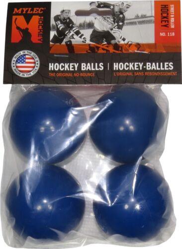 BLUE No Bounce Mylec Hockey 4 Pack Street // Floor Hockey Balls Cold Weather